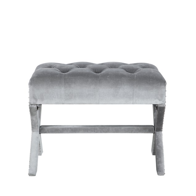 Chic Home Millen Polished Nailhead Tufted Velvet X Ottoman