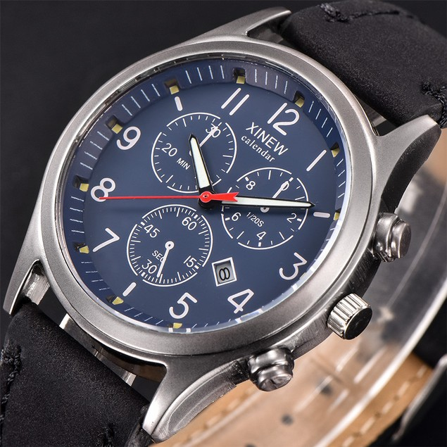 Men's Leather Band Watches Military Sport Analog Quartz Date Wrist Watch 1
