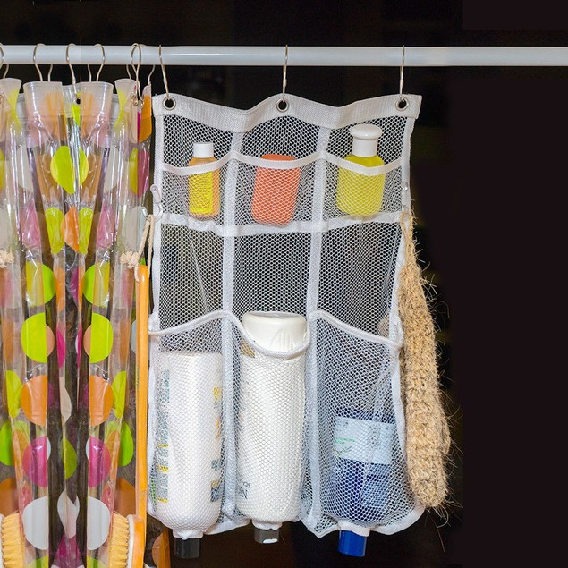 Mesh Shower Caddy-6 Pockets-Hooks for Brushes-Holes For Bottles-Dry Fast