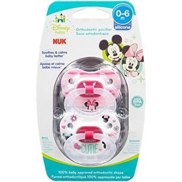 Disney Baby Puller Pacifier, 0-6 Months, Girl/Minnie Mouse