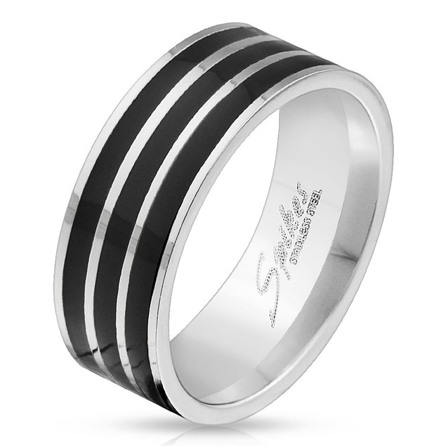 Triple Black Lines Stainless Steel Ring