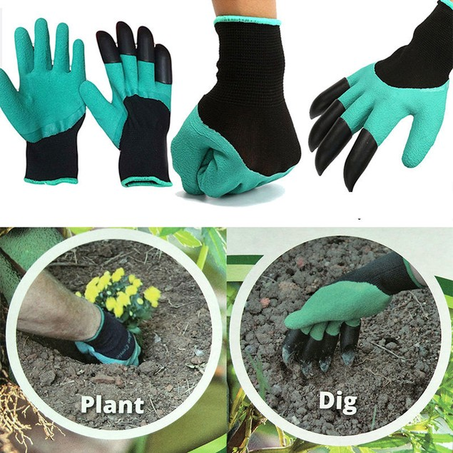 1 Pair 4 ABS Plastic Claws Garden Gloves For Digging Planting