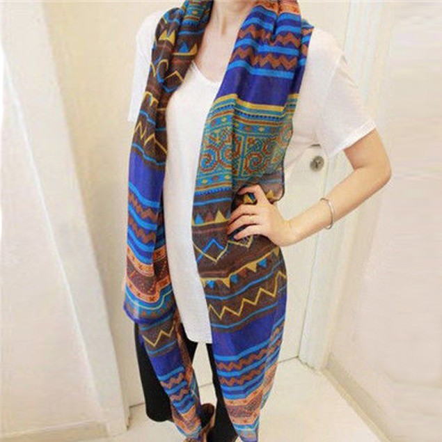 Women Lady Vintage Bohemian Ethnic Style Soft Scarf