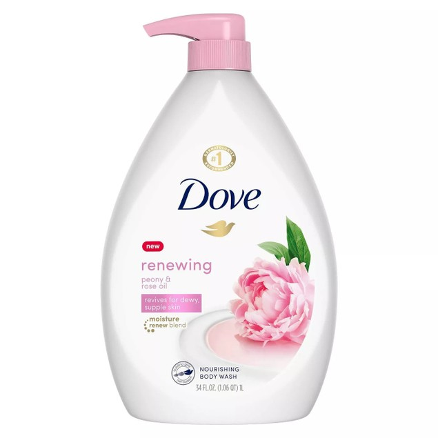 4-Pack Dove Shower Gel Body Wash w/ Pump 34oz/1L