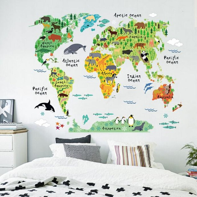 Animal World Map Removable Decal Art Mural Home Decor Wall Stickers
