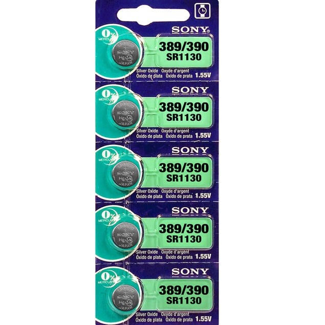 Sony 389/390 (SR1130/W/SW) 1.55-Volt Silver Oxide Watch Batteries (5 Pack)