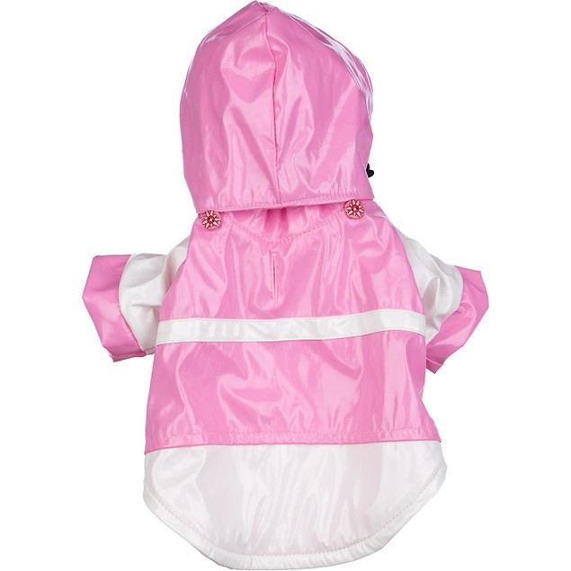 Two-Tone Pvc Waterproof Adjustable Pet Raincoat w/ Removable Hood