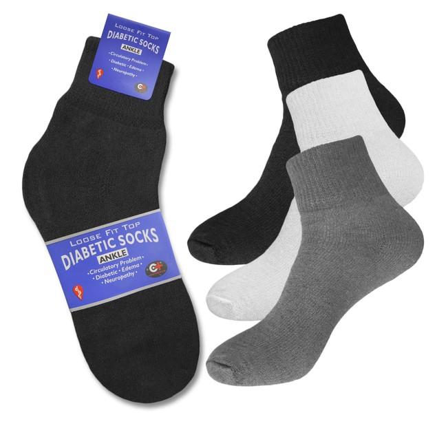 6 Pairs Diabetic Crew Circulatory Cotton Socks Health Men's or Women's