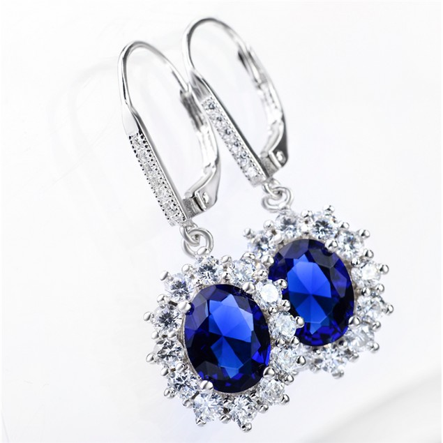 Leverback Halo Sapphire earring in 18K White Gold