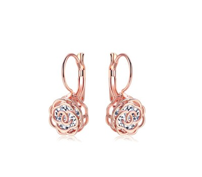 Crystal Lever-back Floral Earrings In Gold - 2 colors Was: $129.99 Now: $10.99.