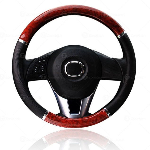 Zone Tech Wood Grain Steering Wheel Cover Car Black PU Leather