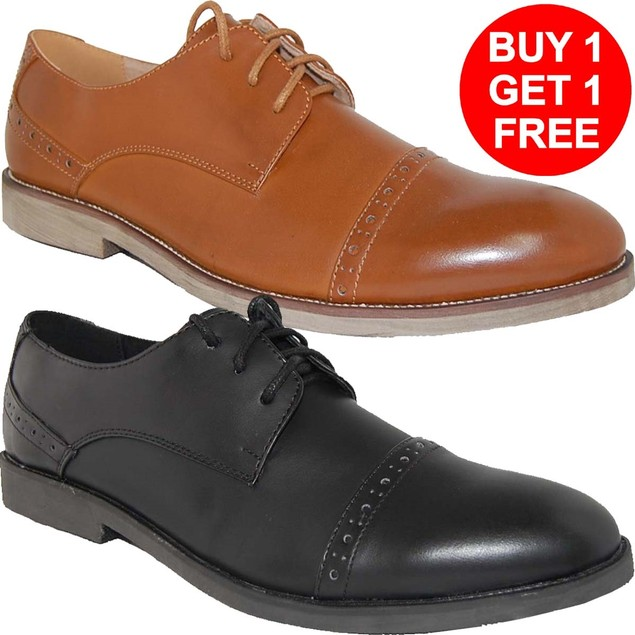 Krazy Shoes BOGO 1 Free Men's Pair | LEATHER LINED Lace-Up Oxfords