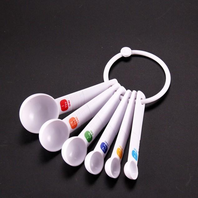 6PC White Measuring Spoon Tea Scoop Kitchen Tool