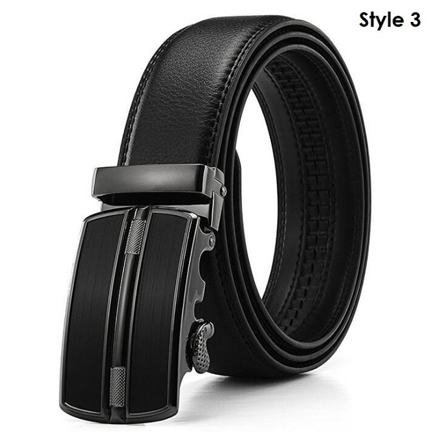 Men's Leather Solid Buckle w/ Automatic Ratchet