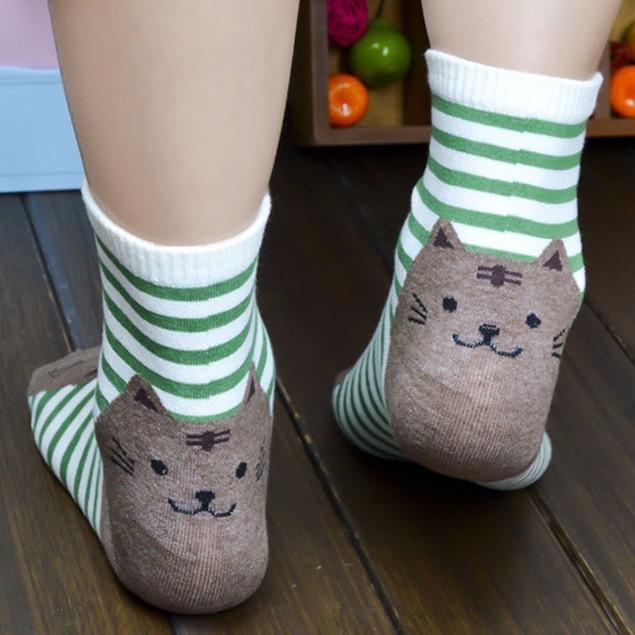 Cotton Striped Cat Crew Socks - Choose Your Color