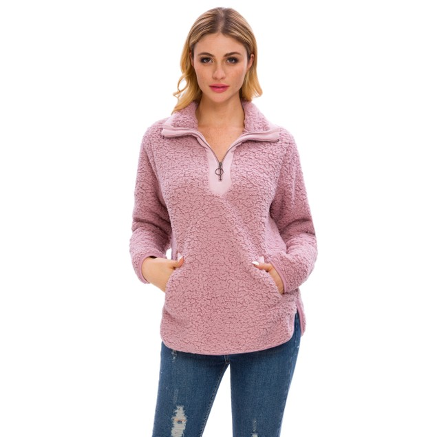 Lilly Posh Long Sleeve Loose Sherpa Pullover Stand Collar with Pockets