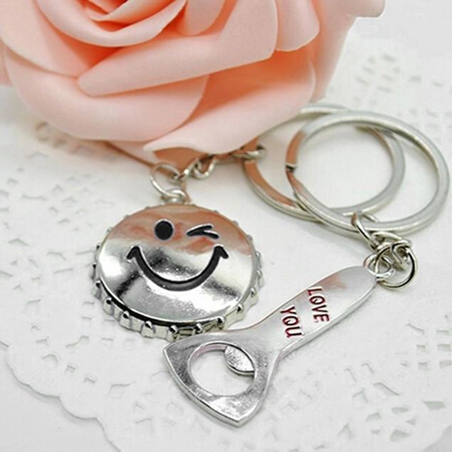 1 Pair Lover Key Rings Smile Face Beer Cap Bottle Opener Keyfob Keychains