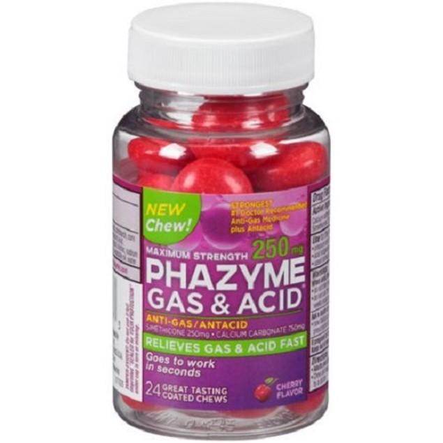 Phazyme Gas & Acid Coated Chews Maximum Strength 250mg Cherry Flavor