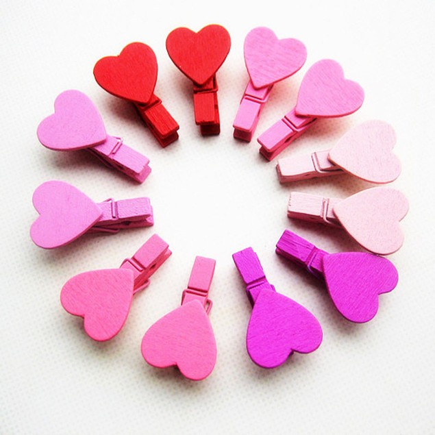 12Pcs Mini Heart Love Wooden Clothes Photo Paper  Craft Clips