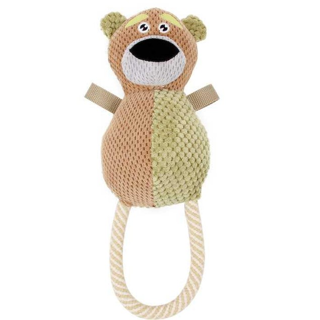 Pet Life Plush Huggabear Natural Jute And Squeak Chew Tugging Dog Toy