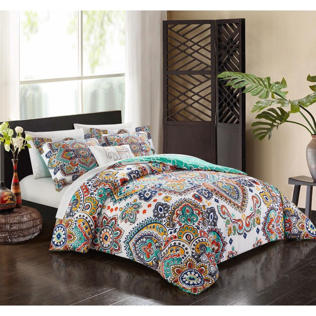 Chic Home  6/8 Pc. Nile Paisley Print REVERSIBLE Bed in a Bag Comforter Set