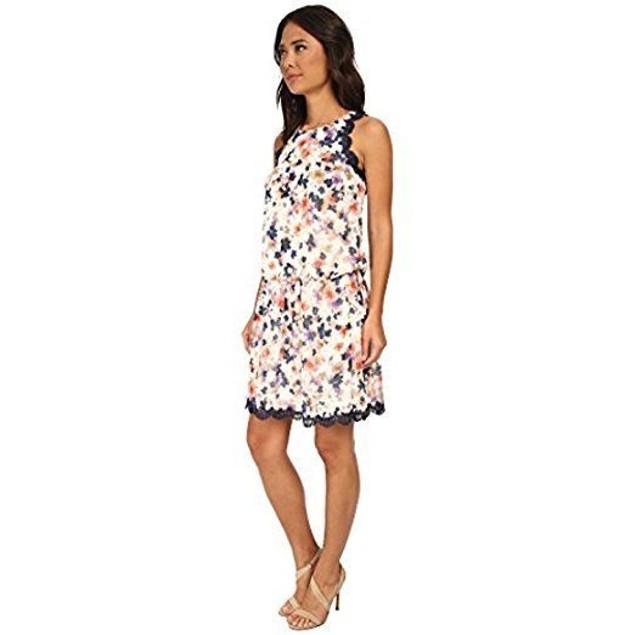 Jessica Simpson Women's Floral Chiffon Two-Piece Dress Set Print Dress