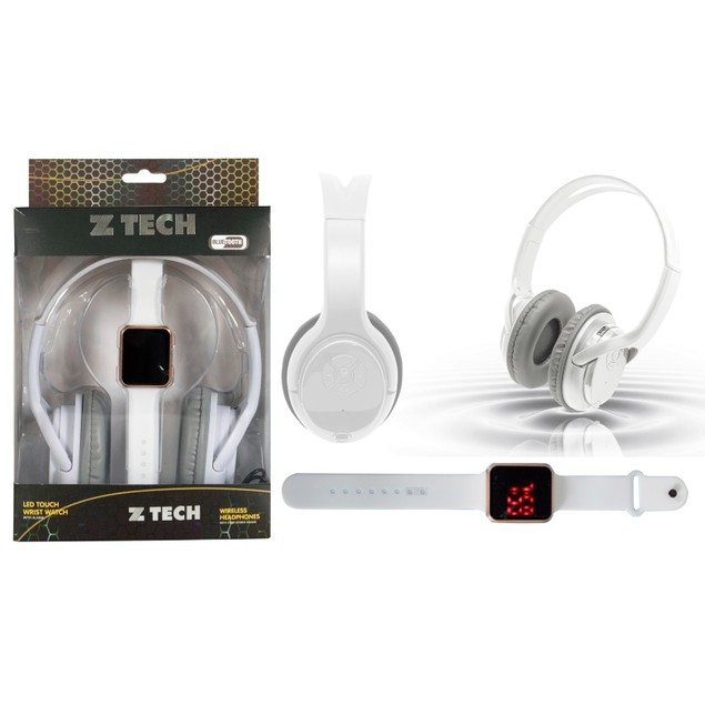 Wireless Over-Ear Bluetooth Headphones and LED Touch Watch