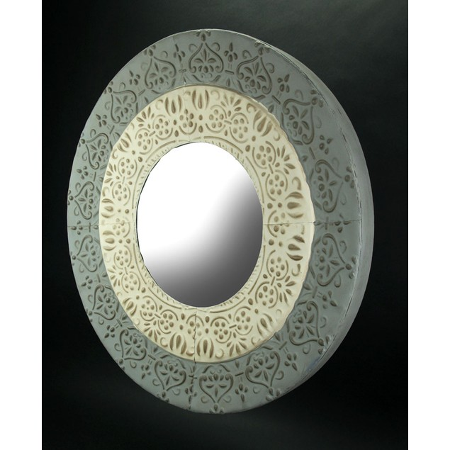 Hand Painted Gray And White Embossed Metal Wall Wall Mounted Mirrors