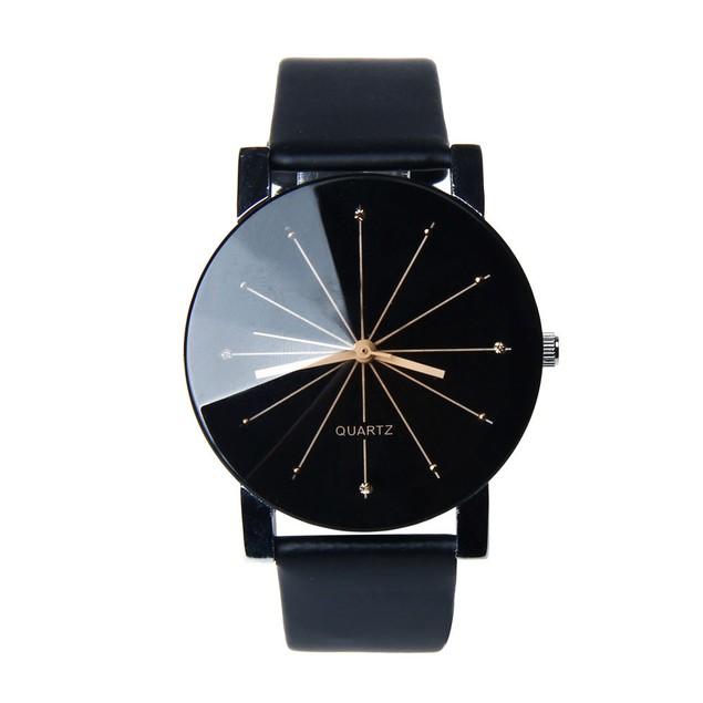 Men Quartz Dial Clock Leather Wrist Watch Round Case