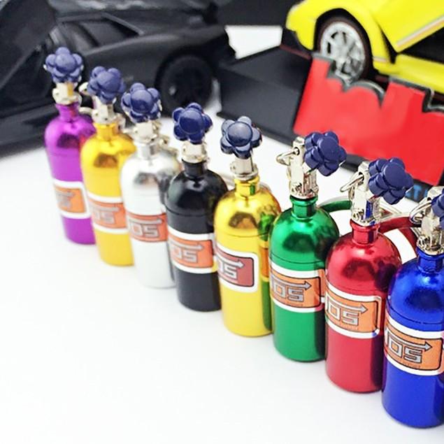 NOS Bottle Oxide Nitrous Pill Stash Box Auto Car Key Chain Keyring Keyfob