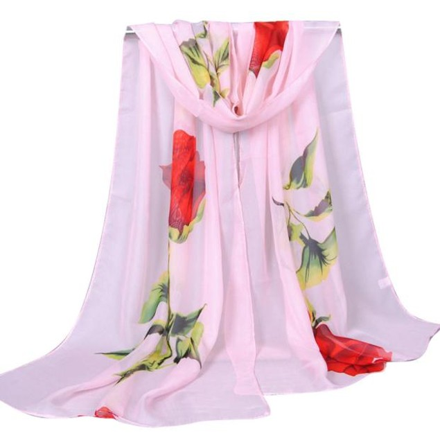 Fashion Women Rose Long Soft Wrap Scarf Ladies Shawl Chiffon Scarf Scarves
