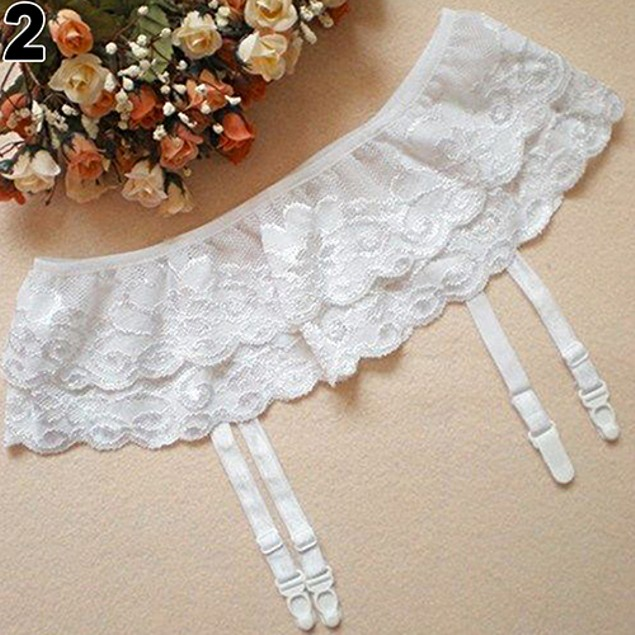 Lady Dual Layer Floral G-String Thongs Hold Garter Belt Stocking Suspender