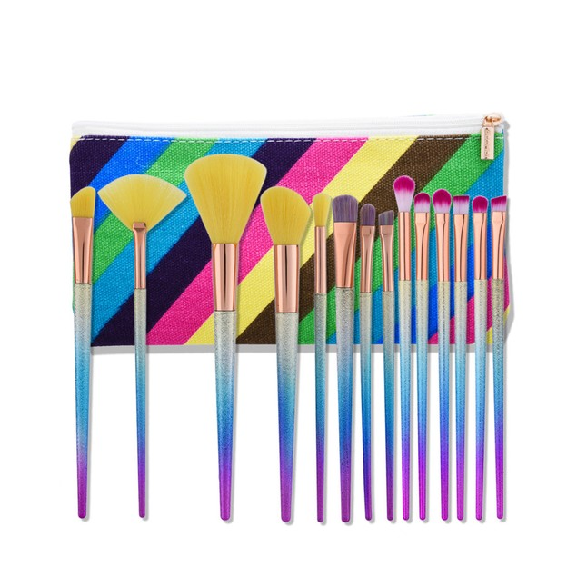 14pcs Makeup Brushes set Fondation Cosmetic Tool with Leather 113