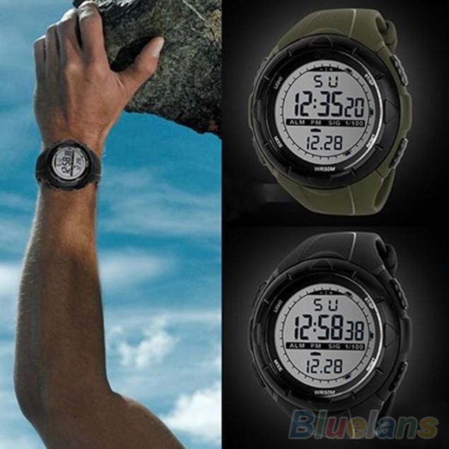 Men's Waterproof LED Silicone Band Timer Sports Quartz Wrist Watch