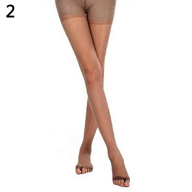 Women Open Toe Sheer One Size Ultra-Thin Slim Stretch Pantyhose