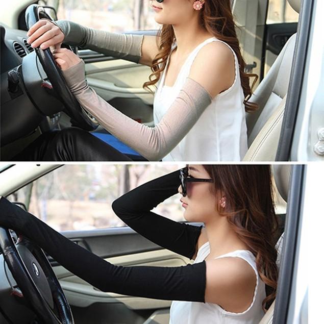 Women Long Fingerless UV Sun Protection Gloves