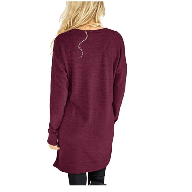 Long V-Neck Long Sleeve Top