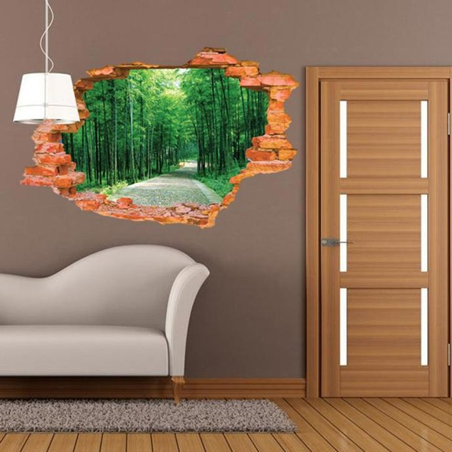 3D Stereo Effect Poqiang Tree-lined Trail Mural Wall Sticker