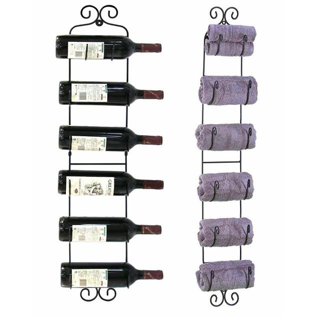Wall-Mount Wine & Towel Rack
