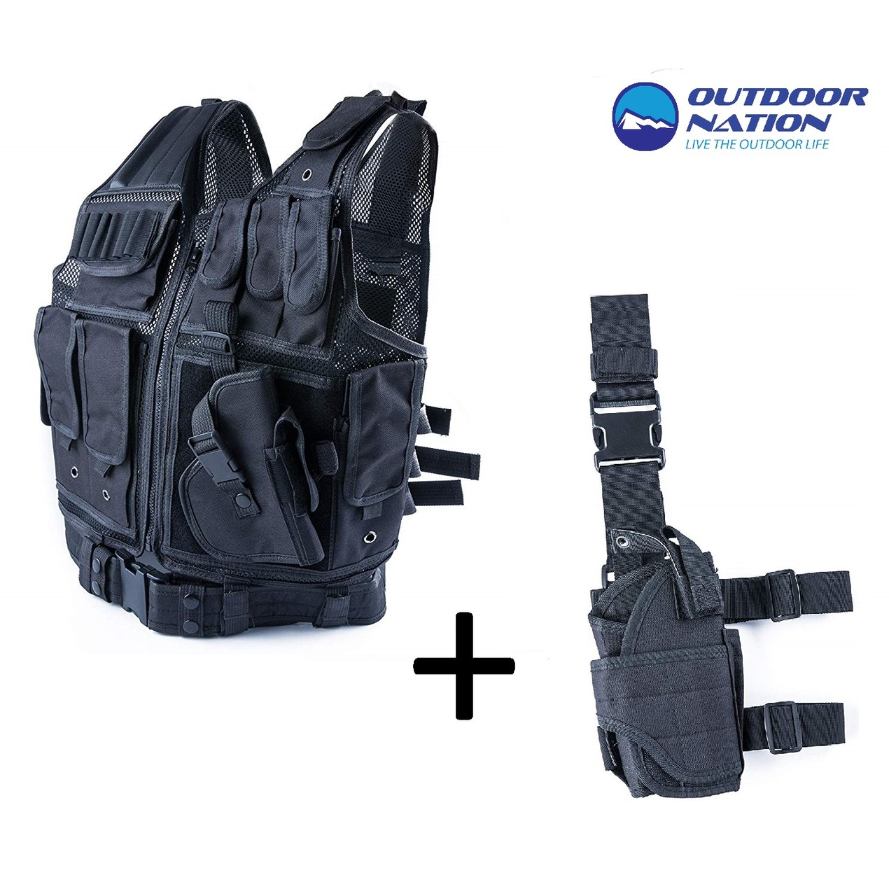 Outdoor Nation Unisex Tactical Vest and Thigh Gun Holster