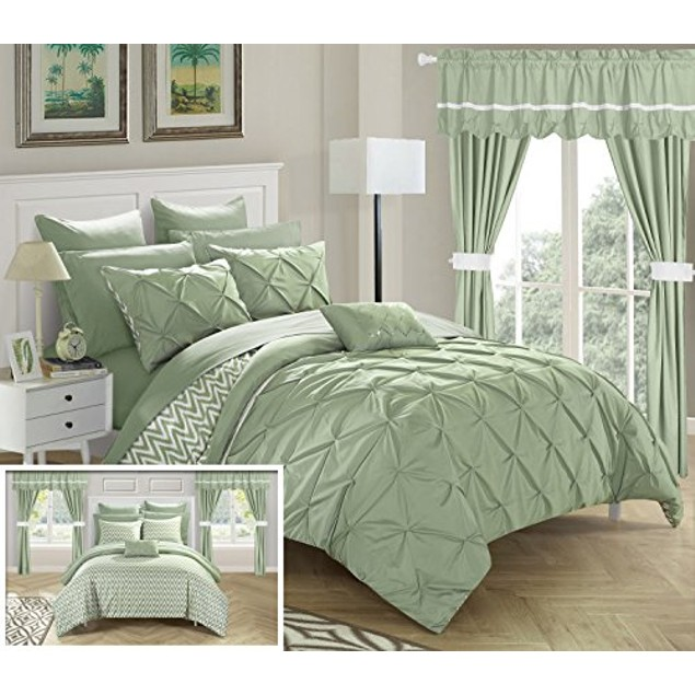 Chic Home 20 Pc. Knoxville Pinch pleated design REVERSIBLE Comforter Set