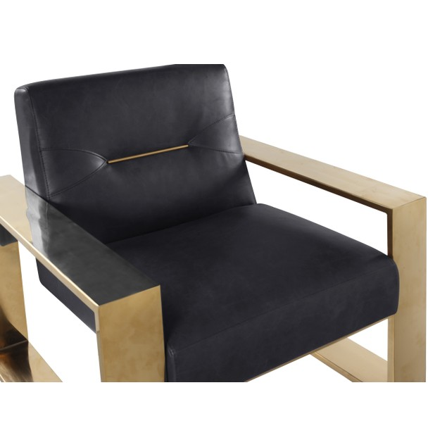 Chic Home Miel Nickel-Finished Stainless Steel Leatherette Accent Chair