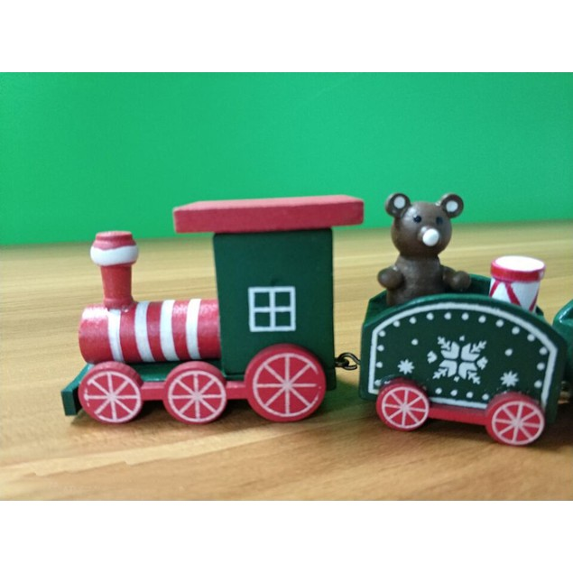 Wood Christmas Xmas Train Decoration Decor Gift Children Stitching Toys