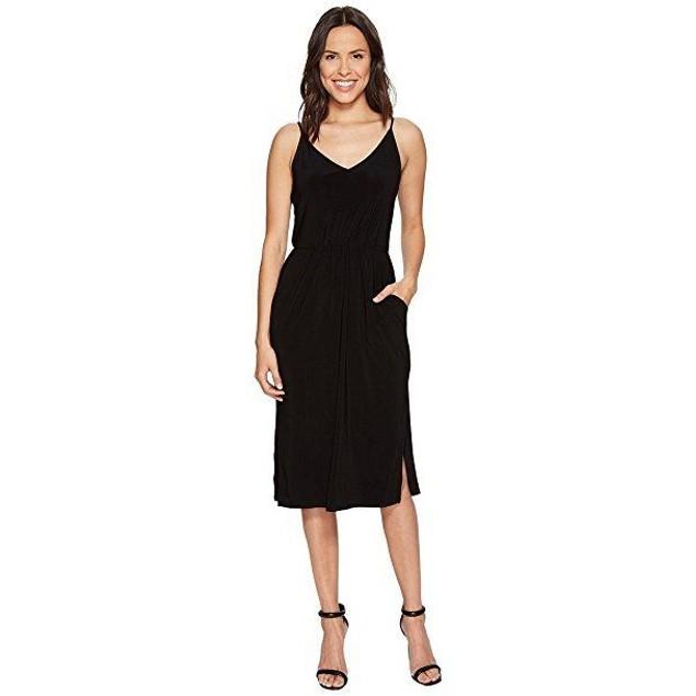 1.STATE Women's Spaghetti Strap V-Neck Dress Rich Black Dress SZ S