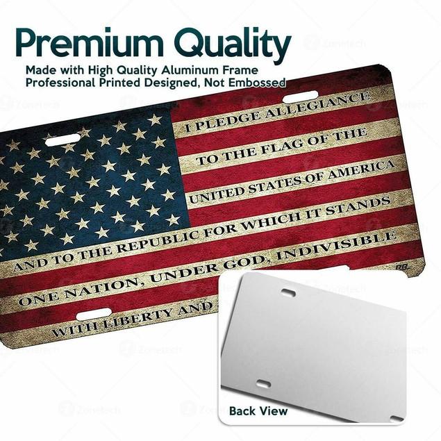 Zone Tech USA Flag License Plate Patriotic Pledge of Allegiance Steel
