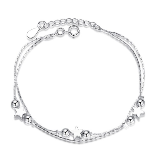 White Gold Star Charm Bracelet