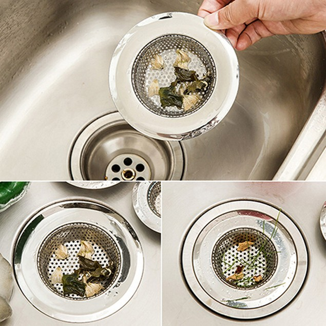 2PCS Stainless Steel Mesh Sink Strainer Trap Bath Hole Flume Filter