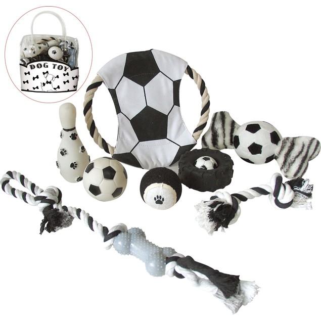 8 Piece Soccer Themed Pet Toy Set