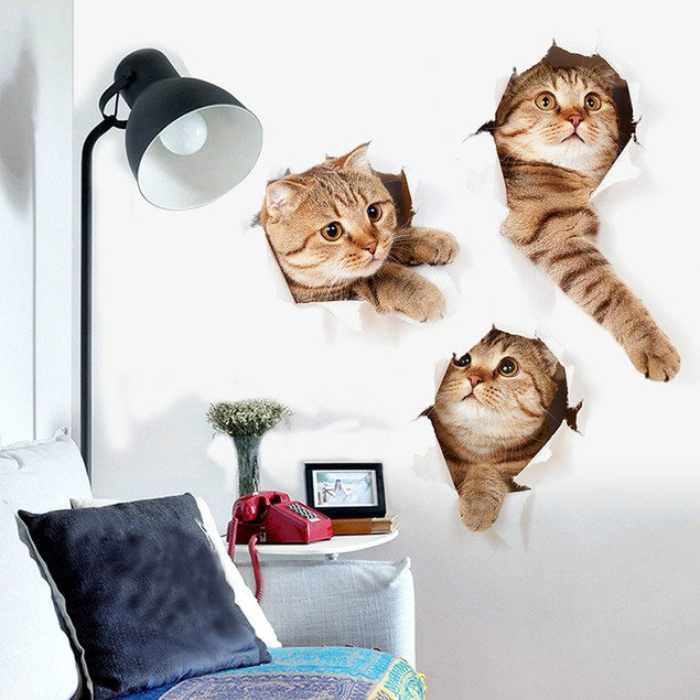 3D Cat Creative Personality Living Room Wall Stickers Home Decor