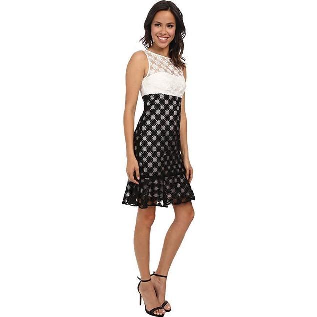Nicole Miller Women's Sunburst Combo Embroidery Dress White/Black Dres